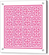 Greek Key With Border In French Pink Acrylic Print