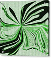 Green And Black Embroidered Butterfly Abstract Acrylic Print