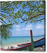 Green And Blue Boat Acrylic Print