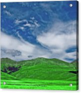 Green And Blue Landscape Acrylic Print