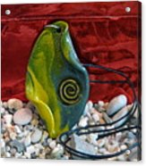 Green And Yellow Spiral Pendant Acrylic Print