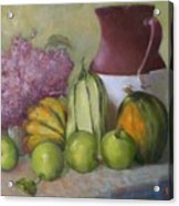 Green Apples And Hydrangeas   Copyrighted Acrylic Print