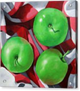 Green Apples still life painting Acrylic Print
