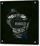 Green Bay Packers Typographic Word Art Acrylic Print