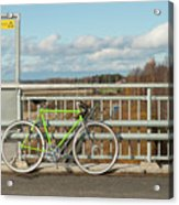 Green Bicycle On Bridge Acrylic Print