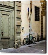 Green Bike And Door Acrylic Print