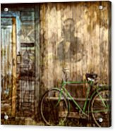 Green Bike Crooked Door Acrylic Print