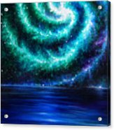 Green-blue Galaxy And Ocean. Planet Dzekhtsaghee Acrylic Print