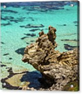 Green Blue Ocean Water And Rocks Acrylic Print