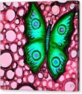 Green Butterfly Acrylic Print by Brenda Higginson
