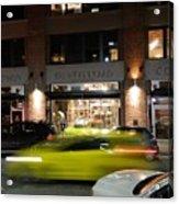 Green Car Zooming Through Yaletown Acrylic Print