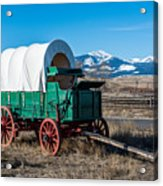 Green Covered Wagon Acrylic Print