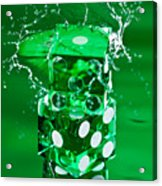 Green Dice Splash Acrylic Print