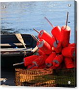 Green Dingy And Bouys Acrylic Print