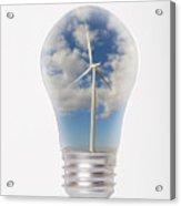 Green Energy - Wind Turbine Generator Inside A Light Bulb Acrylic Print