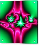 Green Flowers On Pink Ribbons Fractal 64 Acrylic Print