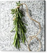 Green Fresh Rosemary On Granite Background Acrylic Print