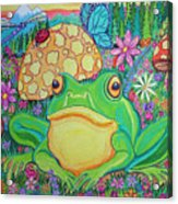 Green Frog With Flowers And Mushrooms Acrylic Print