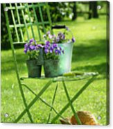 Green Garden Chair Acrylic Print by Sandra Cunningham