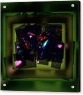 Green Gem Collage Acrylic Print