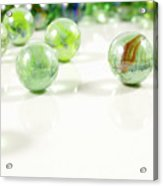 Green Glass Marbles Close-up Views Acrylic Print