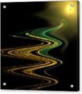 Green Gold Waves Acrylic Print