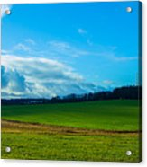 Green Grass And Blue Sky With White Clouds Acrylic Print