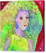 Green Hair Don't Care Acrylic Print