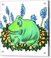 Green Happy Frog Acrylic Print