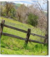 Green Hills And Rustic Fence Acrylic Print