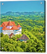 Green Hills Of Zagorje Region And Veliki Tabor Castle View Acrylic Print