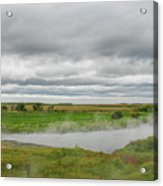Green Landscape With Steamy River Acrylic Print