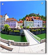 Green Ljubljana Riverfront Panoramic View Acrylic Print