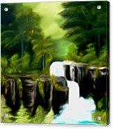 Green Mist Fantasy Falls Dreamy Mirage Acrylic Print