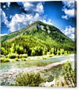 Green Mountain And Brook Acrylic Print