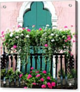Green Ornate Door With Geraniums Acrylic Print