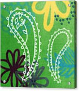 Green Paisley Garden Acrylic Print