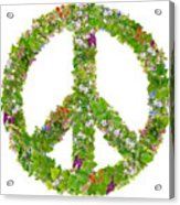Green Peace Symbol From  Spring Plants Acrylic Print