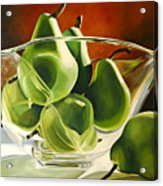 Green Pears In Glass Bowl Acrylic Print