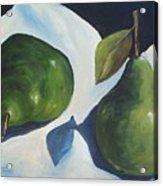 Green Pears on Linen - 2007 Acrylic Print