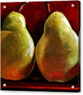 Green Pears On Red Acrylic Print