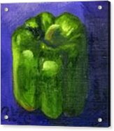 Green Pepper On Linen Acrylic Print