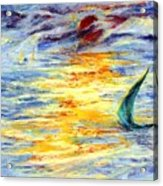 Green Sail At Sunset Acrylic Print