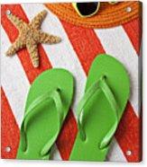 Green Sandals On Beach Towel Acrylic Print
