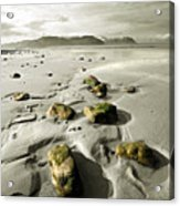 Green Stones On A North Wales Beach Acrylic Print