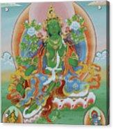 Green Tara With Retinue Acrylic Print