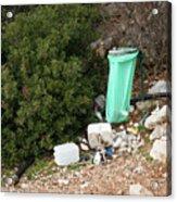 Green Trash Bag And Rubbish In Croatia Acrylic Print