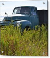 Green Truck In The Green Grass Acrylic Print