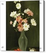 Green Vase With Flowers Acrylic Print