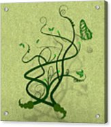 Green Vine And Butterfly Acrylic Print